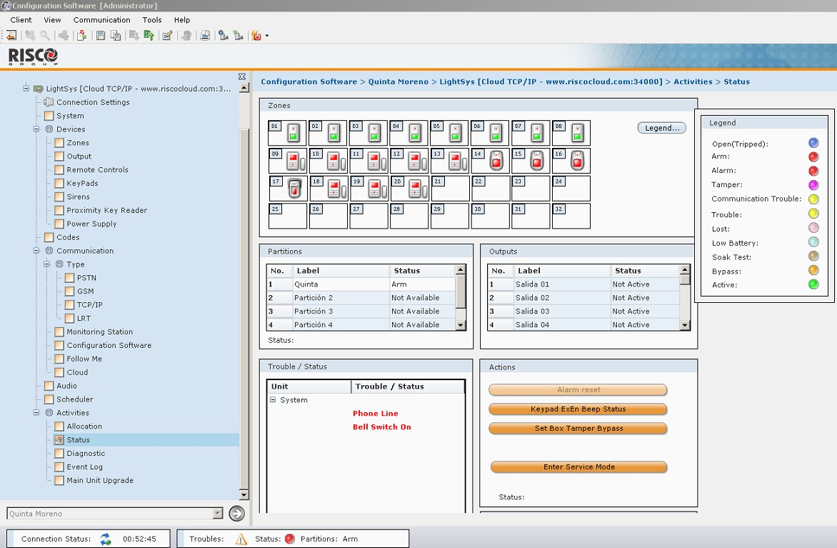 configuration software risco