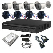 Kit Dahua 4 Camaras 1MP CVI DVR 4CH Disco 1TB Cables Fuentes