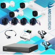 Kit Dahua 4 Camaras 1MP Grabador 4CH Disco 1TB Cables Fuentes
